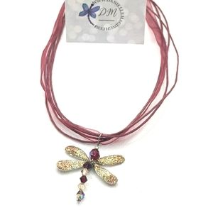 Artisan Made Ruby Red Dragonfly Necklace